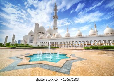 Sheikh Zayed Grand Mosque in Abu Dhabi, the capital city of UAE