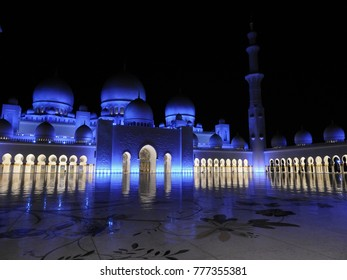 Sheikh Zayed Grand Mosque . Night view. Abu Dhabi. Largest mosque in the United Arab Emirates