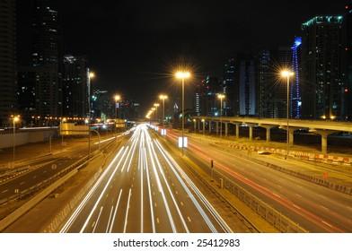 Sheikh Zayed Road in Dubai at night