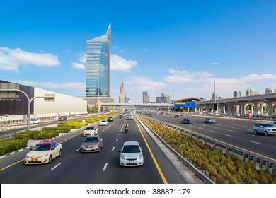 Sheikh Zayed Road in Dubai in a summer day