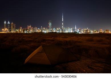 Sheikh Zayed Road at night and Skyline of Dubai, UAE