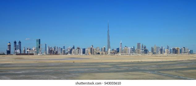 Sheikh Zayed Road and Skyline of Dubai, UAE