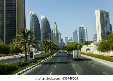 SHEIKH ZAYED ROAD,DUBAI, UAE-16TH AUG 2015:-Dubai main thouroughfare is Sheikh Zayed Road