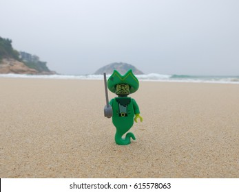 Shek O Beach, Hong Kong: 10 Mar 2017 - Lego Flying Dutchman ghost coming up from the sea. This mini figure is from Spongebob set. Lego is a brick brand by Lego group.