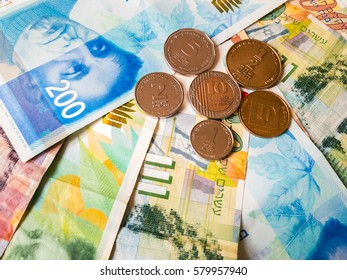Shekels banknotes and coins background wallpaper