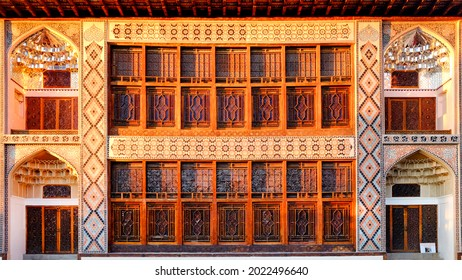 "Sheki, Azerbaijan - 03 17 2017: Facade of the UNESCO World Heritage Site ""Palace of Sheki Khans"""