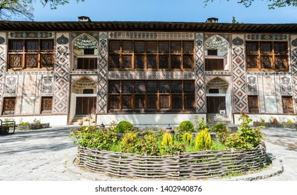 Sheki, Azerbaijan - April 29, 2019. Exterior view of the Palace of Sheki Khans in Sheki. The palace was built by Muhammed Hasan Khan and dates from 1762.