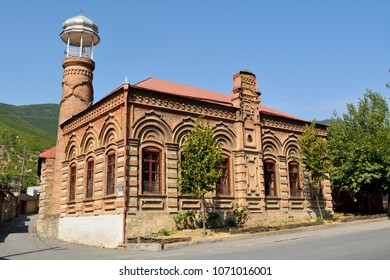 Sheki, Azerbaijan - August 13, 2018. Omar Efendi mosque, dating from the 19th century, in Sheki, Azerbaijan.