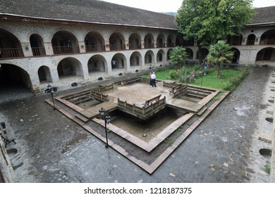 Sheki, Azerbaijan, circa august 2018: View of the Caravanserai in Sheki a historical monument, which is now rebuilt to be a touristic hotel