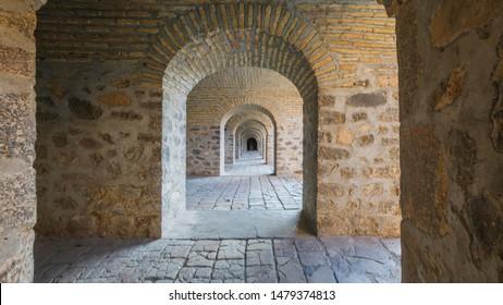 SHEKI, AZERBAIJAN. Corridor of Caravanserai(or caravansary) building in Sheki, Azerbaijan. The building dates from the 18th century.