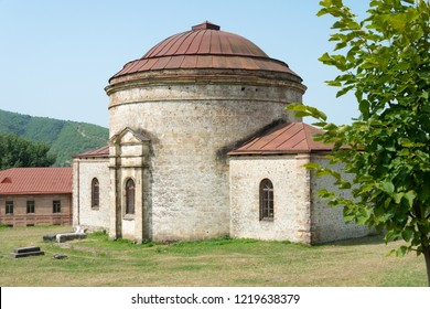 Sheki, Azerbaijan - Jul 27 2018: Old Khan mosque. a famous historic site on the Silk Road, Sheki, Azerbaijan.