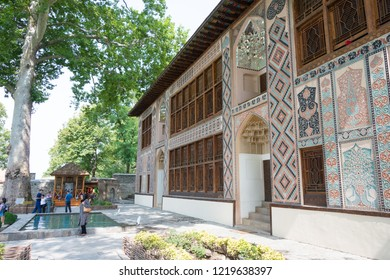 Sheki, Azerbaijan - Jul 27 2018: Sheki Khan Palace. a famous historic site on the Silk Road, Sheki, Azerbaijan.