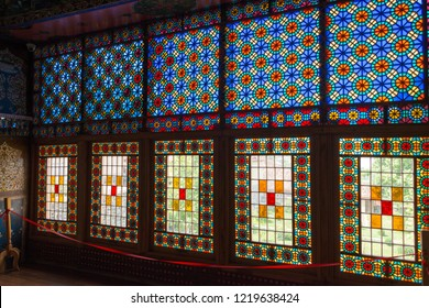 Sheki, Azerbaijan - Jul 27 2018: Stained glass at Winter Palace. a famous historic site on the Silk Road, Sheki, Azerbaijan.