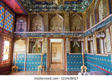 Sheki, Azerbaijan - Jul 27 2018: Winter Palace. a famous historic site on the Silk Road, Sheki, Azerbaijan.