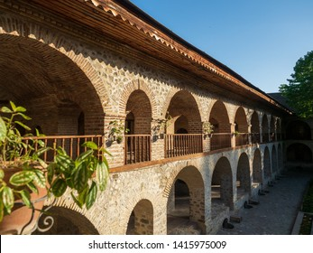SHEKI, AZERBAIJAN - May 08, 2019 : Courtyard of Caravanserai(or caravansary) building in Sheki, Azerbaijan. The building dates from the 18th century.