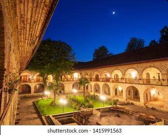 SHEKI, AZERBAIJAN - May 08, 2019 : Courtyard of Caravanserai(or caravansary) building in Sheki, Azerbaijan. The building dates from the 18th century. Color temperature  :  under a fl uorescent light