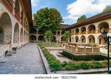 Sheki, Azerbaijan - Sept 13, 2016: View of the inner courtyard of Upper caravanserai is a historical monument in Sheki 18th-19th centuries