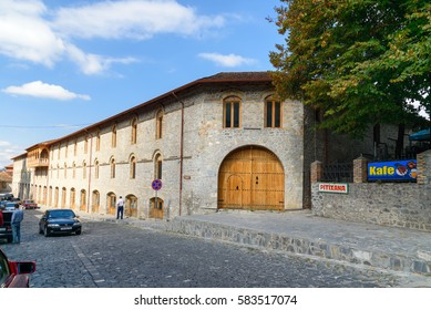 Sheki, Azerbaijan - Sept 13,2016: Lower caravanserai is historical monument 8th-19th centuries. It was used by merchants to store their goods in cellars, who traded on first floor, and lived on second