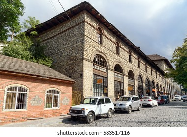 Sheki, Azerbaijan - Sept 13,2016: Upper caravanserai is historical monument 18th-19th centuries.It was used by merchants to store their goods in cellars, who traded on first floor, and lived on second