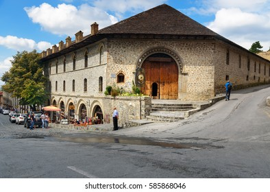 Sheki, Azerbaijan -Sept 13,2016: Upper caravanserai is historical monument 18th-19th centuries. It was used by merchants to store their goods in cellars, who traded on first floor, and lived on second