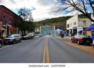 Shelburne Falls, USA - October 26, 2018 - Truss Bridge across the Deerfield River in Shelburne Falls, Massachusetts
