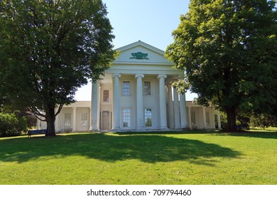 SHELBURNE, VT, USA - AUGUST 27, 2017: Beautiful backlit mansion off of Shelburne Road in Shelburne, VT. Editorial use only.
