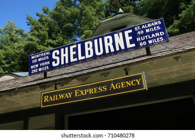 SHELBURNE, VT, USA - AUGUST 27, 2017: Signage at train station off of Shelburne Road in Shelburne, VT. Editorial use only.
