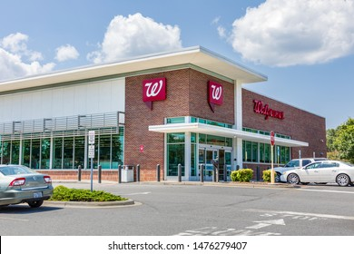 SHELBY, NC, USA-9 AUGUST 2019:  A Walgreens Pharmacy, bulding and parking lot.