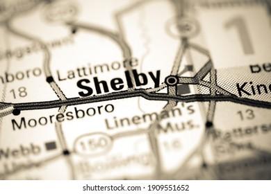 Shelby. North Carolina. USA on a map