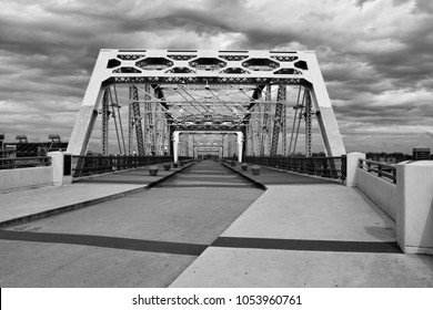 Shelby Pedestrian Bridge located at downtown Nashville, Tennessee black and white image