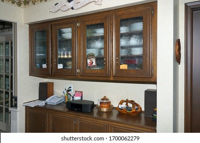 Shelby Twp. Michigan - Apr. 2020: View of china cabinet