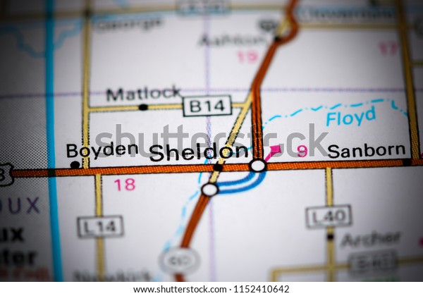 Sheldon. Iowa. USA on a map