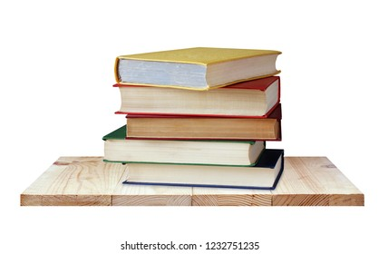 Shelf with books isolated on white background. Textbooks in color covers. Library, education, study.