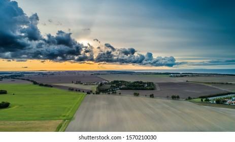 Shelf cloud, Arcus, island of Rügen from a bird's eye view