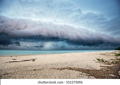Shelf cloud reaching shore over Lake Michigan