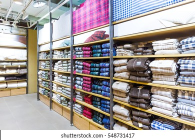 shelf with colorful clothes