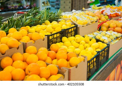 Shelf with fruits in the supermarket