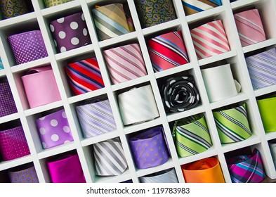 Shelf full of fine silk neckties on a Chinese street market