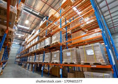 Shelf full of merchandise at logistics warehouse