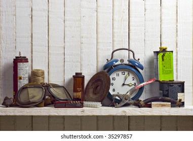 shelf of junk; good copy space