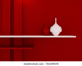 shelf on the red wall, 3d rendering