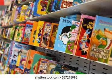 The shelf of a supermarket with a variety of children's books, February 9, 2017