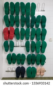a shelf with surgical shoes