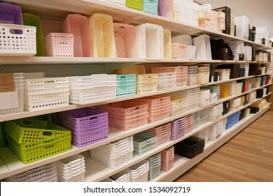 Shelf with various storage boxes