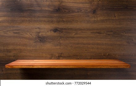 shelf at wooden background texture wall