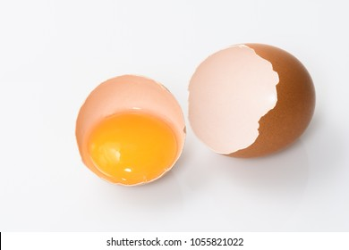 shell of broken egg and egg yolk, isolated space for text