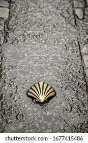 Shell of the Camino de Santiago, detail of a sign for pilgrims