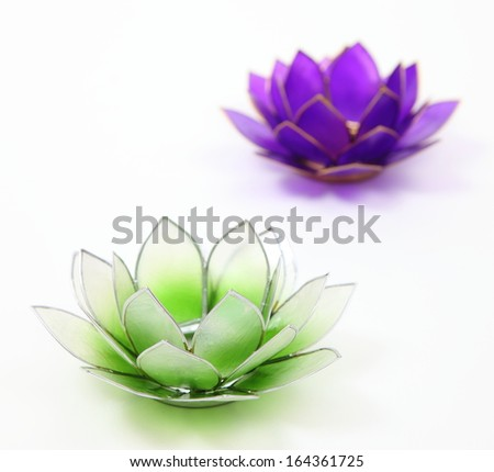Shell Lotus Flower Candle Holdersintimate Moments Two Stock Photo