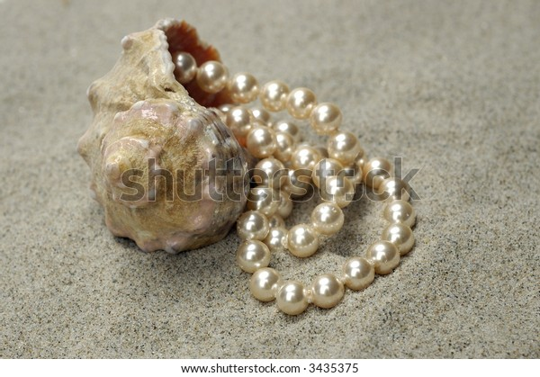 Shell with pearls on the sand