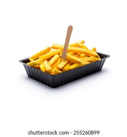 shell of pommes fries with fork isolated on white background
